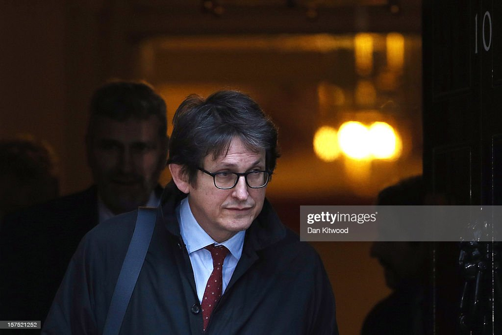 Alan Rusbridger, the editor of the Guardian leaves Downing Street on December 4, 2012 in London, England. Most editors of the national daily newspapers are meeting the Prime Minister David Cameron and culture secretary Maria Miller in Downing Street to discuss ideas for a new system of press regulation.