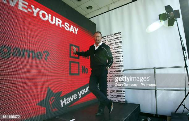 Alan Shearaer during a photo call for the launch of a new global football survey by Umbro at the A4 Showcase London