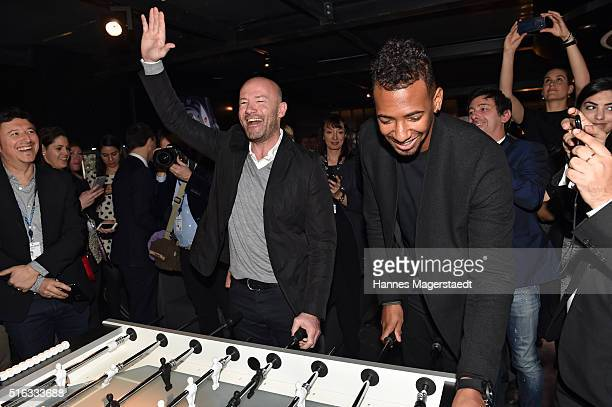 Alan Shearer and Jerome Boateng during Hublot press conference 'Hublot loves football' at the Baselworld on March 18 2016 in Basel Switzerland