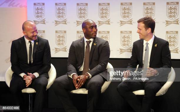 Alan Shearer and Sol Campbell share a laugh with Oliver Bierhoff during the FA Anniversary Celebrations Launch at the Grand Connaught Rooms London