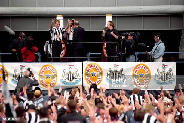 Alan Shearer greets the fans of Newcastle United at St James's Park