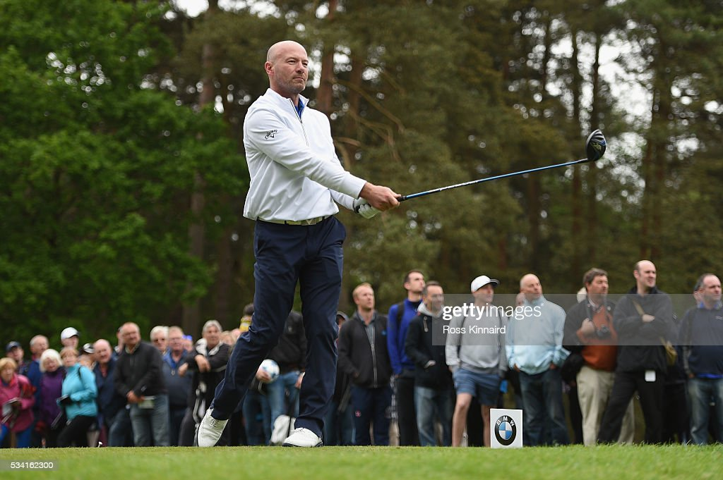 <a gi-track='captionPersonalityLinkClicked' href=/galleries/search?phrase=Alan+Shearer&family=editorial&specificpeople=157676 ng-click='$event.stopPropagation()'>Alan Shearer</a> hits a tee shot during the Pro-Am prior to the BMW PGA Championship at Wentworth on May 25, 2016 in Virginia Water, England.