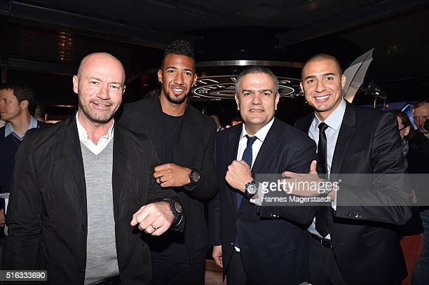 Alan Shearer Jerome Boateng Ricardo Guadalupe and David Trezeguet during Hublot press conference 'Hublot loves football' at the Baselworld on March...