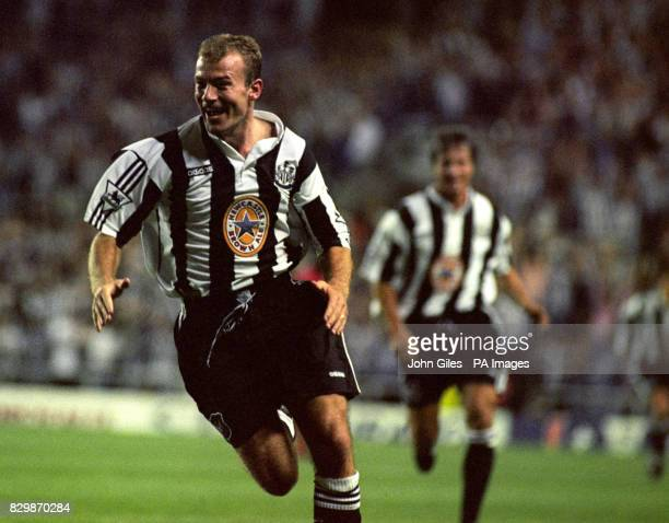 Alan Shearer leads the celebrations after he scored his first goal for the Club against Wimbledon in the Premiership tonightPhoto John GilesPA