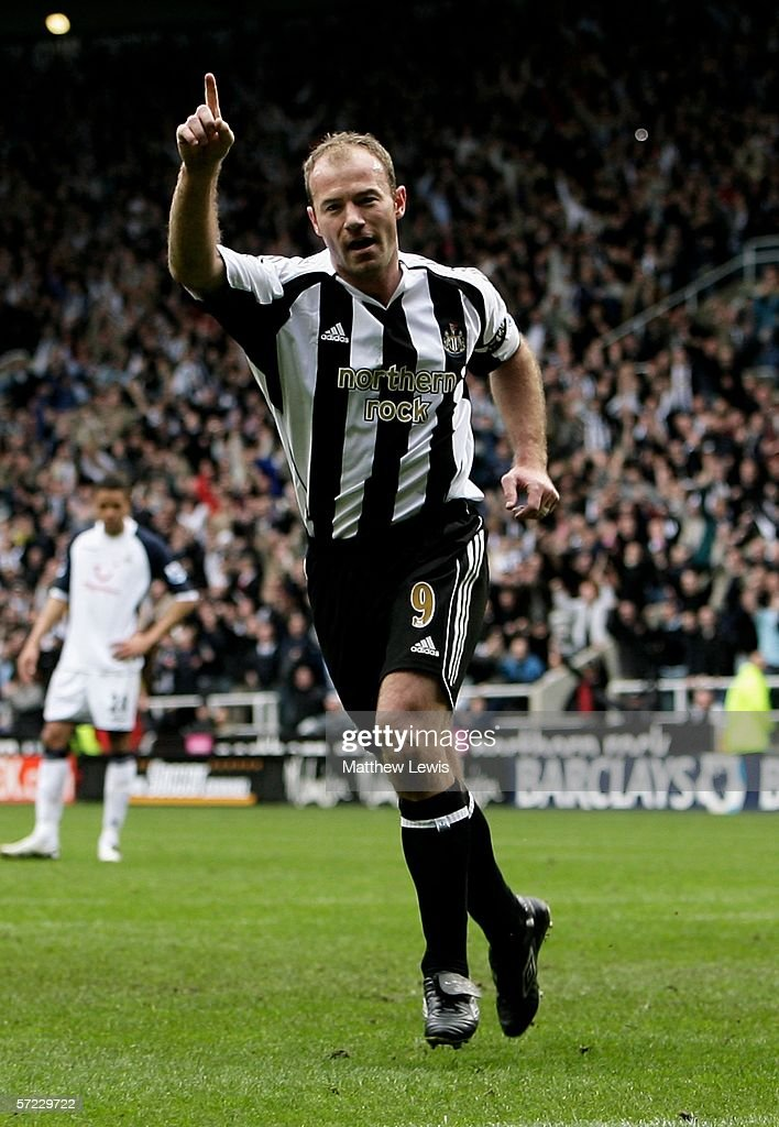 Alan Shearer of Newcastle celebrates his goal during the Barclays Premiership match between Newcastle United and Tottenham Hotspur at StJames' Park...