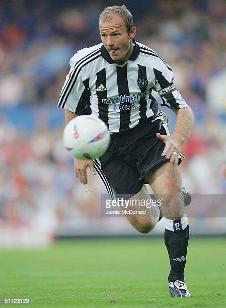 Alan Shearer of Newcastle in action during the preseason friendly match between Ipswich Town v Newcastle United at Portman Road on July 28 2004 in...