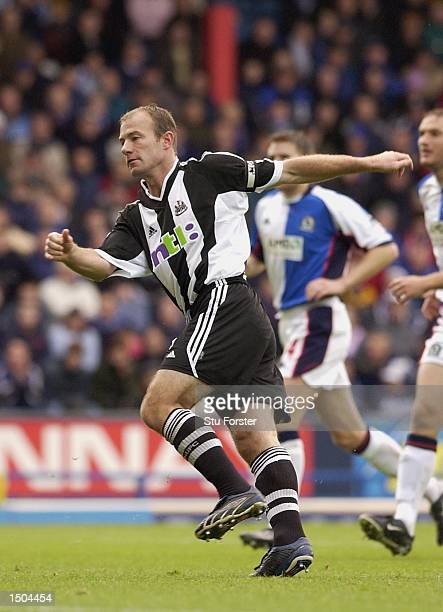 Alan Shearer of Newcastle scores from the penalty spot for his 300th league goal during the FA Barclaycard Premiership match between Blackburn Rovers...