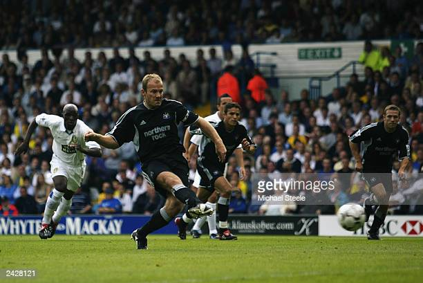 Alan Shearer of Newcastle scores his first goal from the penalty spot during the FA Barclaycard Premiership match between Leeds United and Newcastle...
