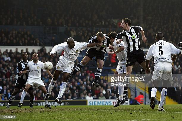 Alan Shearer of Newcastle scores the third goal during the Leeds United v Newcastle United FA Barclaycard Premiership match at Elland Road on...