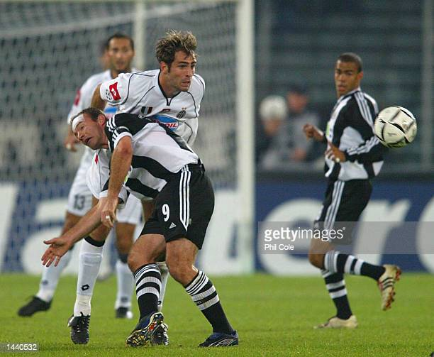 Alan Shearer of Newcastle United and Igor Tudor of Juventus in action during the UEFA Champions League Group E match between Juventus and Newcastle...