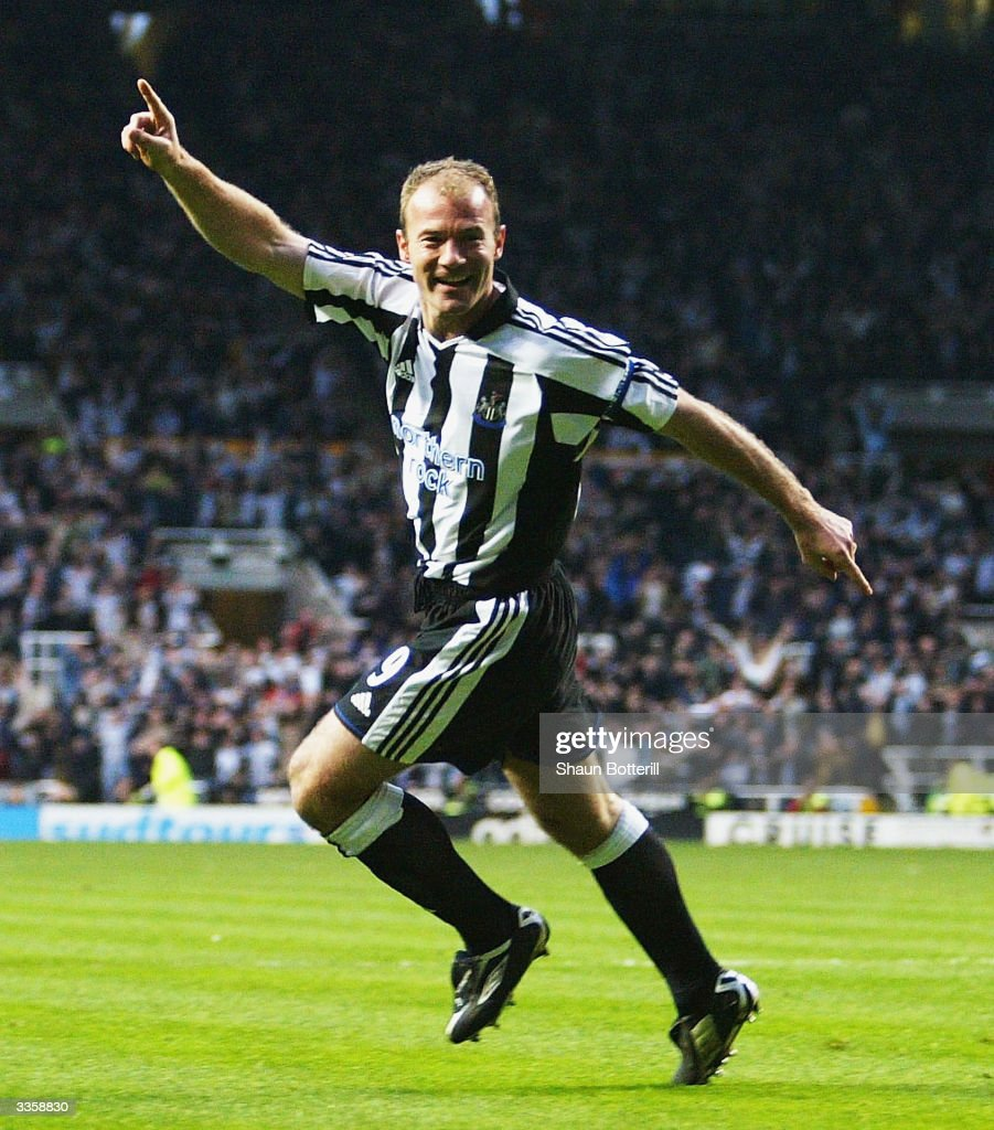 Alan Shearer of Newcastle United celebrates the first goal during the UEFA Cup Quarter Final Second Leg match between Newcastle United and PSV...