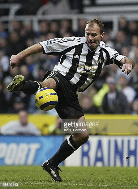 Alan Shearer of Newcastle United in action during the Barclays Premiership match between Newcastle United and Blackburn Rovers at St James' Park on...