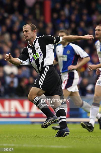 Alan Shearer of Newcastle United scores from the spot for his 300th goal during the Premiership match on October 15 2002 between Blackburn Rovers and...