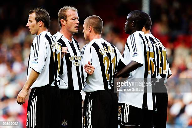 Alan Shearer organises the Newcastle United defensive wall during the Barclays Premiership match between Blackburn Rovers and Newcastle United on...