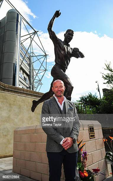 Alan Shearer poses for photograph after he unveiled the Alan Shearer Statue on Barrack Road at StJames' Park on September 12 in Newcastle upon Tyne...