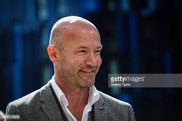 Alan Shearer smiles during the unveiling of the Alan Shearer Statue on Barrack Road at StJames' Park on September 12 in Newcastle upon Tyne England