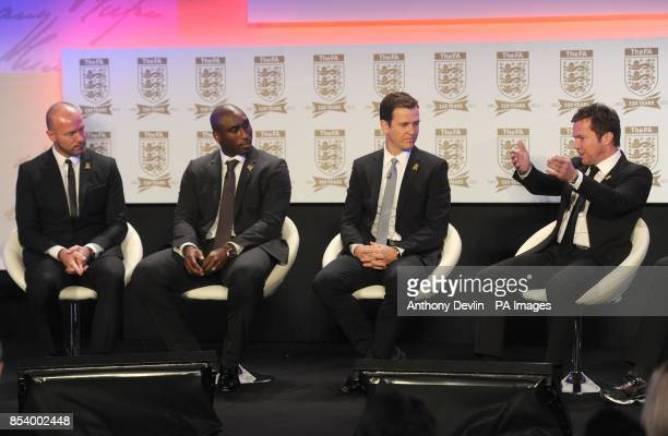 Alan Shearer Sol Cambell and Oliver Bierhoff look on as Lothar Matthaus speaks during the FA Anniversary Celebrations Launch at the Grand Connaught...