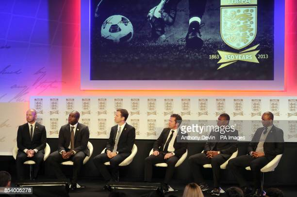 Alan Shearer Sol Cambell Oliver Bierhoff Lothar Matthaus Marcel Desailly and Patrick Viera during the FA Anniversary Celebrations Launch at the Grand...