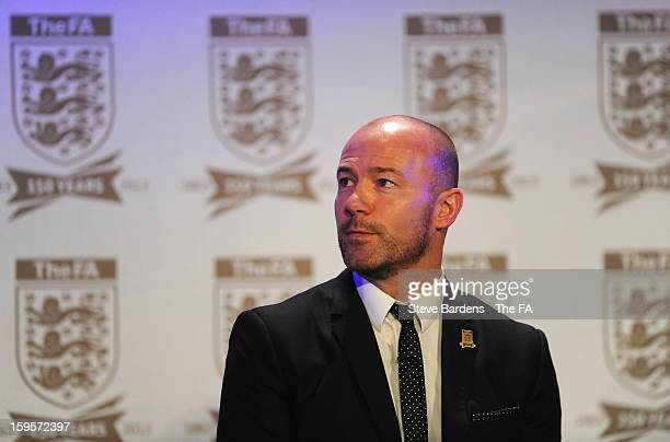 Alan Shearer talks on stage during the official launch to mark the FA's 150th Anniversary Year at the Grand Connaught Rooms on January 16 2013 in...
