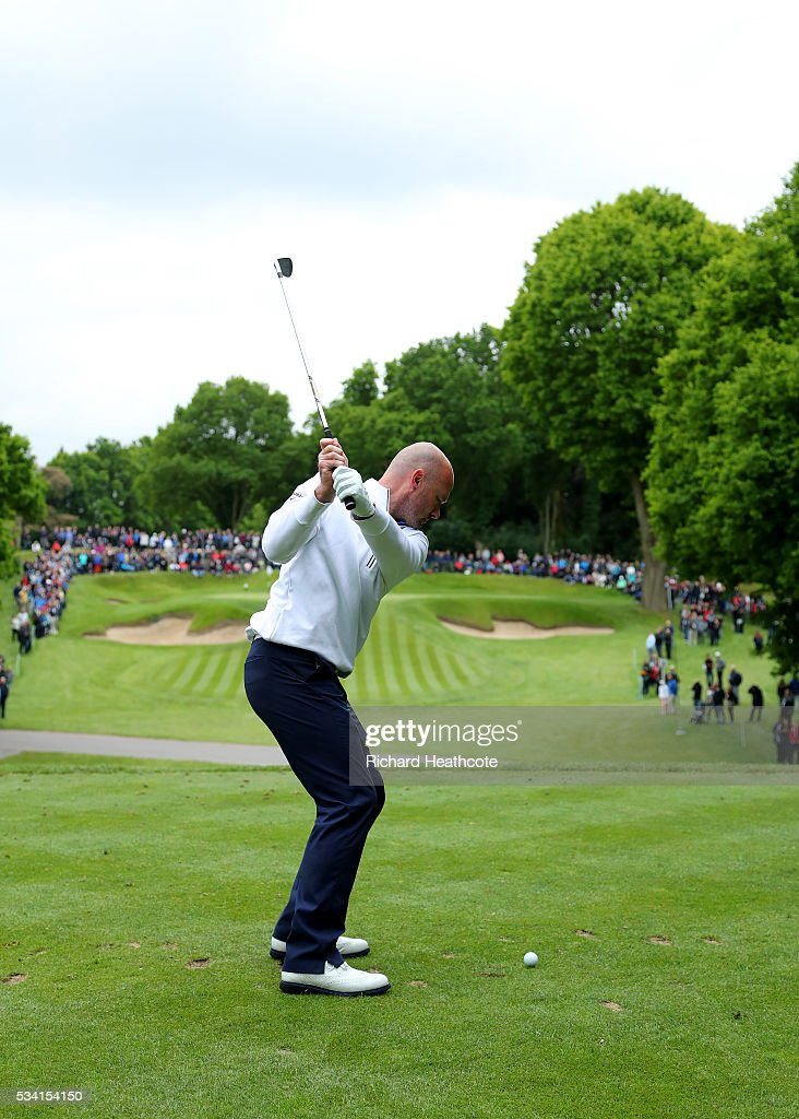 <a gi-track='captionPersonalityLinkClicked' href=/galleries/search?phrase=Alan+Shearer&family=editorial&specificpeople=157676 ng-click='$event.stopPropagation()'>Alan Shearer</a> tees off during the Pro-Am prior to the BMW PGA Championship at Wentworth on May 25, 2016 in Virginia Water, England.