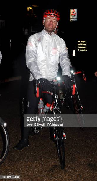 Alan Shearer the former England footballer before he rides into the BBC TV centre after riding a bike from Newcastle to Shepards Bush West London for...