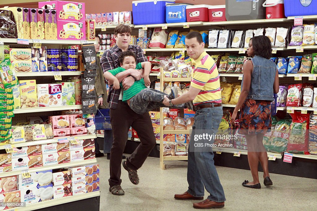 'Alan Shot A Little Girl' --When Alan realizes Louis thinks he's cool, he starts breaking Walden's rules to stay cool, on TWO AND A HALF MEN, Thursday, Dec 4 (9:00-9:30PM, ET/PT), on the CBS Television Network. Pictured L-R: <a gi-track='captionPersonalityLinkClicked' href=/galleries/search?phrase=Ashton+Kutcher&family=editorial&specificpeople=202015 ng-click='$event.stopPropagation()'>Ashton Kutcher</a> as Walden Schmidt, Edan Alexander as Louis, and <a gi-track='captionPersonalityLinkClicked' href=/galleries/search?phrase=Jon+Cryer&family=editorial&specificpeople=213483 ng-click='$event.stopPropagation()'>Jon Cryer</a> as Alan Harper