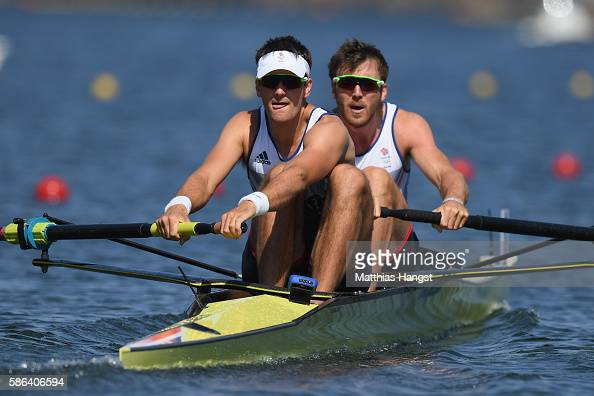 Alan Sinclair and Stewart Innes of Great Britain compete during the Men's Pair Heat 2 on Day 1 of the Rio 2016 Olympic Games at the Lagoa Stadium on...