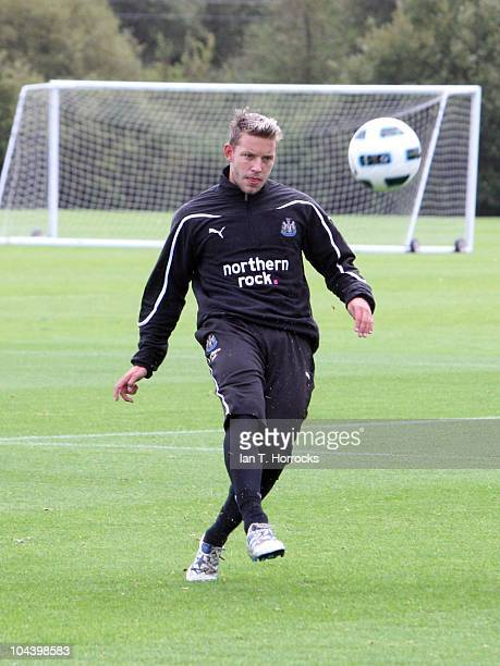 Alan Smith during a Newcastle United training session at the Little Benton training ground on September 24 in Newcastle England