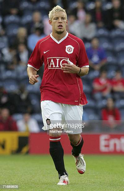 Alan Smith of Manchester United in action on his comeback from injury during the Lancashire Senior Cup match between Preston North End and Manchester...