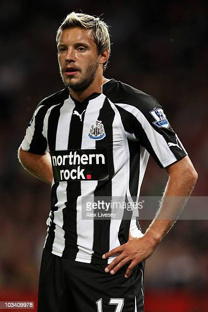 Alan Smith of Newcastle United looks on during the Barclays Premier League match between Manchester United and Newcastle United at Old Trafford on...