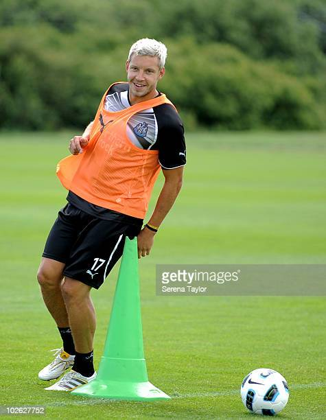 Alan Smith smiles whilst warming up during Newcastle United's first day training session on July 05 2010 in NewcastleuponTyne England