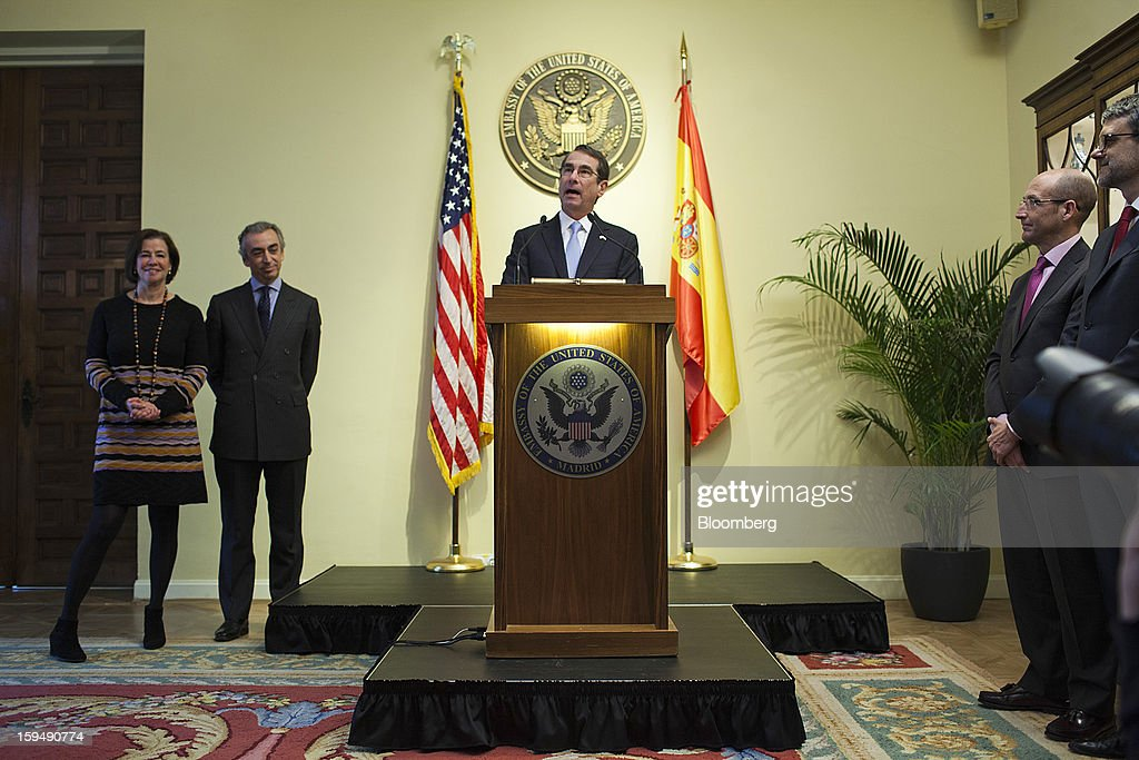 Alan Solomont, U.S. ambassador to Spain, center, speaks while Miguel Ferre, Spain's secretary of state for the treasury, second left, listens during a news conference to mark a joint tax accord with Spain at the U.S. embassy in Madrid, Spain, on Monday, Jan. 14, 2013. European leaders declaring they've gained the upper hand in the three-year-old debt crisis are sharpening efforts to channel a rebound in financial markets to an economic recovery to chip away at soaring unemployment. Photographer: Angel Navarrete/Bloomberg via Getty Images