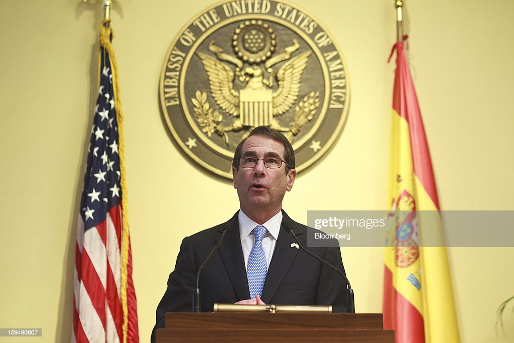 Alan Solomont, U.S. ambassador to Spain, speaks during a news conference to mark a joint tax accord with Spain at the U.S. embassy in Madrid, Spain, on Monday, Jan. 14, 2013. European leaders declaring they've gained the upper hand in the three-year-old debt crisis are sharpening efforts to channel a rebound in financial markets to an economic recovery to chip away at soaring unemployment. Photographer: Angel Navarrete/Bloomberg via Getty Images