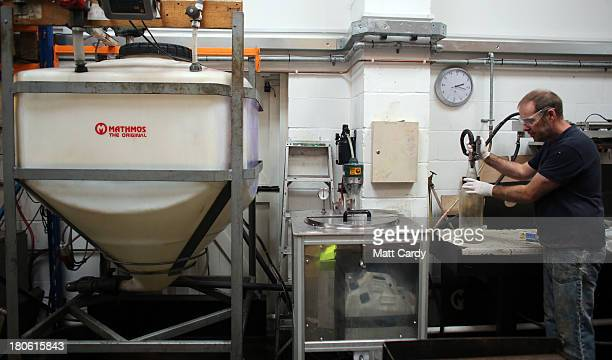 Alan Staton makes the wax needed for special 50th anniversary lava lamps at the Mathmos factory on September 12 2013 in Poole England The company...
