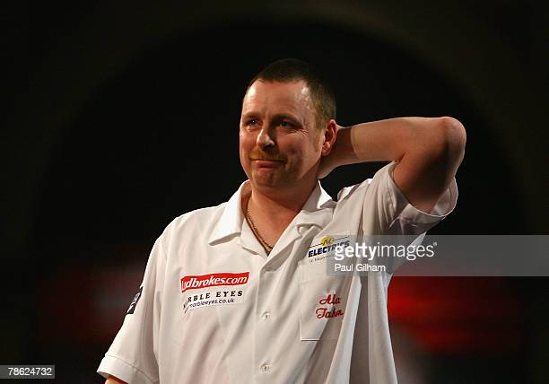 Alan Tabern of England celebrates winning the second round match between Andy Jenkins of England and Alan Tabern of England during the 2008...