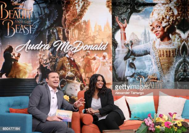 Alan Tacher and Audra McDonald are seen on the set of 'Despierta America' at Univision Studios on March 9 2017 in Miami Florida