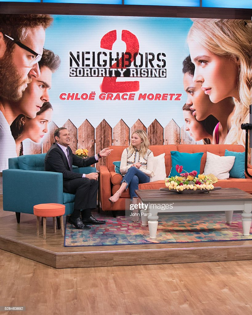 Alan Tacher and Chloe Grace Moretz are seen on the set of Univision's 'Despierta America' to promote the film 'Neighbors 2: Sorority Rising' at Univision Studios on May 5, 2016 in Miami, Florida.