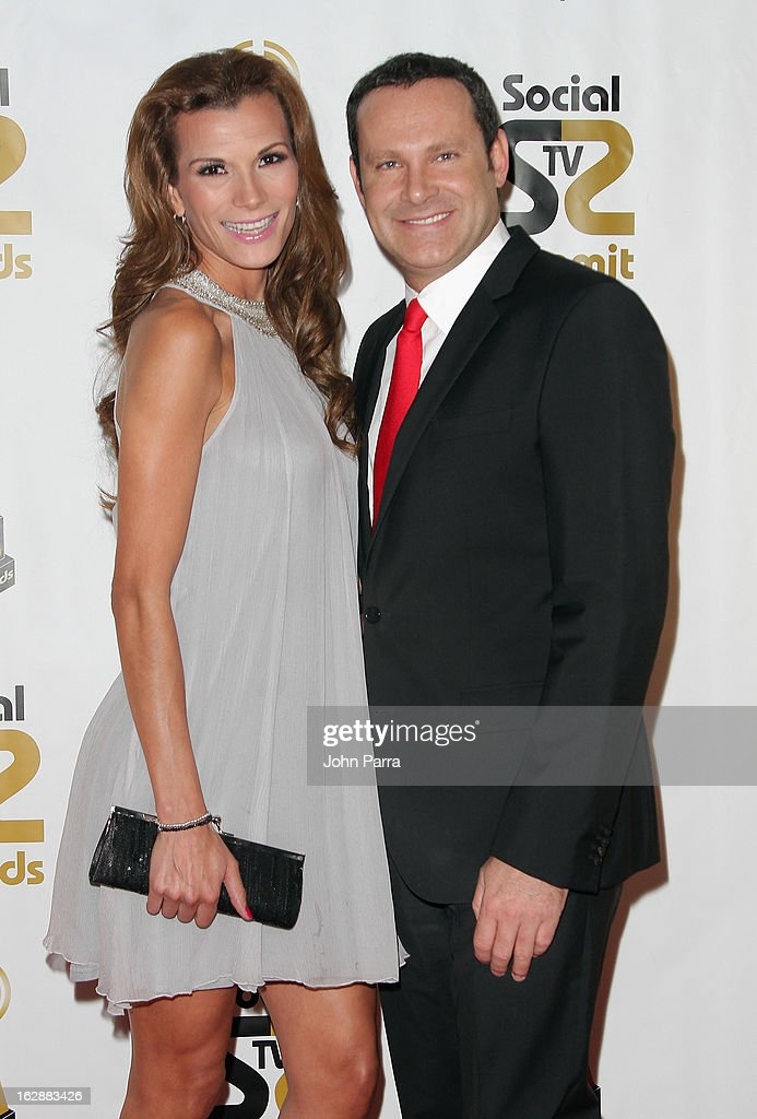 Alan Tacher (R) and Cristina Bernal arrive at the 2013 Latin Social TV Awards at Fontainebleau Miami Beach on February 28, 2013 in Miami Beach, Florida.