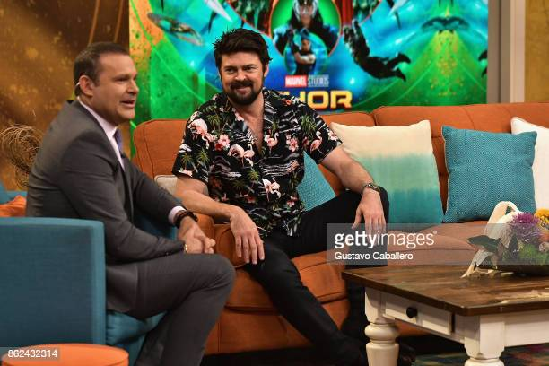 Alan Tacher and Karl Urban are on the set to promote the movie THOR RAGNAROK on Despierta America morning show at Univision Studios on at Univision...