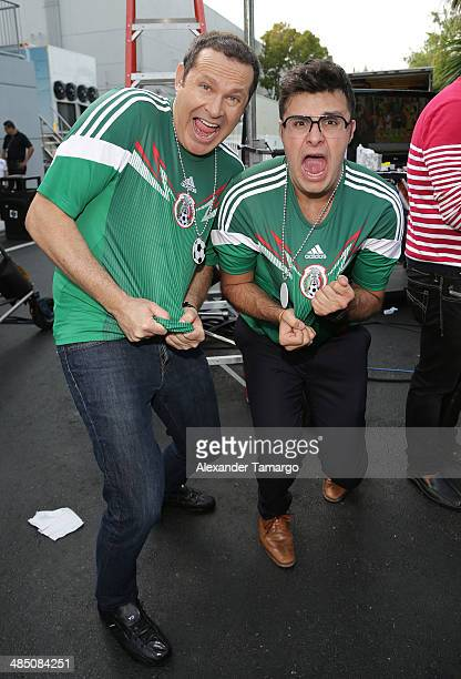Alan Tacher and Paul Stanley poses during FIFA World Cup Trophy Tour on the set of Despierta America at Univision Headquarters on April 16 2014 in...