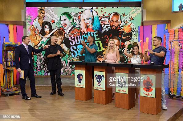Alan Tacher David Ayer Will Smith Margot Robbie Karen Fukuhara and Jay Hernandez on the set of Univisions 'Despierta America' to support the film...