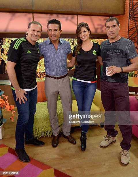Alan Tacher Fernando Colunga Ana Patricia Gamez and Eduardo Yanez are seen on the set of 'Despierta America' to promote the film 'Ladrones' at...