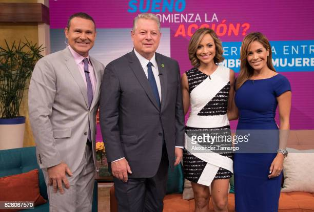 Alan Tacher former United States of America Vice President Al Gore Satcha Pretto and Karla Martinez are seen on the set of 'Despierta America' to...