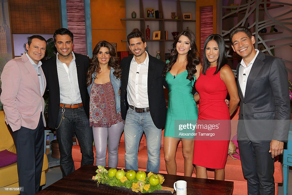 Alan Tacher, <a gi-track='captionPersonalityLinkClicked' href=/galleries/search?phrase=Jaime+Camil&family=editorial&specificpeople=580441 ng-click='$event.stopPropagation()'>Jaime Camil</a>, <a gi-track='captionPersonalityLinkClicked' href=/galleries/search?phrase=Mayrin+Villanueva&family=editorial&specificpeople=5604548 ng-click='$event.stopPropagation()'>Mayrin Villanueva</a>, Pedro Moreno, <a gi-track='captionPersonalityLinkClicked' href=/galleries/search?phrase=Ana+Patricia+Gonzalez&family=editorial&specificpeople=7013097 ng-click='$event.stopPropagation()'>Ana Patricia Gonzalez</a>, <a gi-track='captionPersonalityLinkClicked' href=/galleries/search?phrase=Karla+Martinez&family=editorial&specificpeople=732238 ng-click='$event.stopPropagation()'>Karla Martinez</a> and <a gi-track='captionPersonalityLinkClicked' href=/galleries/search?phrase=Johnny+Lozada&family=editorial&specificpeople=7994478 ng-click='$event.stopPropagation()'>Johnny Lozada</a> are seen on the set of Univision's 'Despierta America' morning show at Univision Headquarters on September 23, 2013 in Miami, Florida.