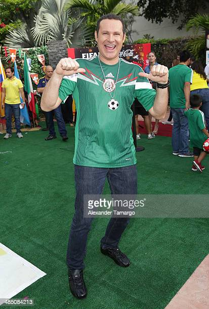 Alan Tacher poses during FIFA World Cup Trophy Tour on the set of Despierta America at Univision Headquarters on April 16 2014 in Miami Florida