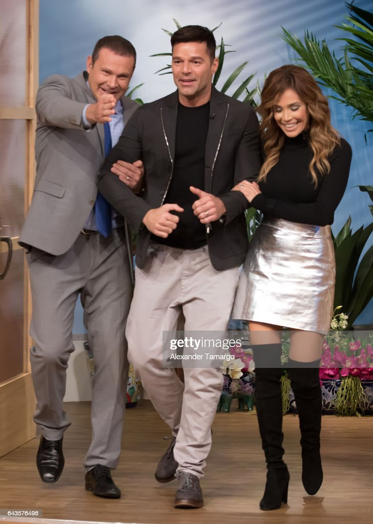 Alan Tacher, Ricky Martin and Karla Martinez are seen on the set of 'Despierta America' at Univision Studios on February 21, 2017 in Miami, Florida.