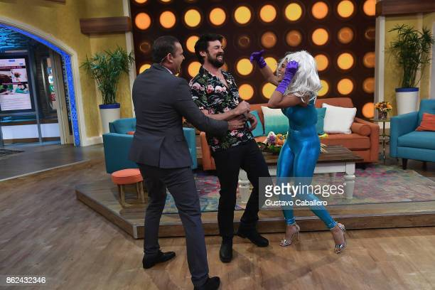 Alan TacherKarl Urban and Francisca Lachape are on the set to promote the movie THOR RAGNAROK on Despierta America morning show at Univision Studios...