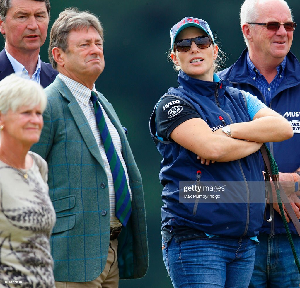 Alan Titchmarsh and Zara Phillips watch Zara's horse 'Silver Lining V' being ridden in the cross country phase of the Gatcombe Horse Trials at Gatcombe Park, Minchinhampton on September 22, 2013 in Stroud, England.