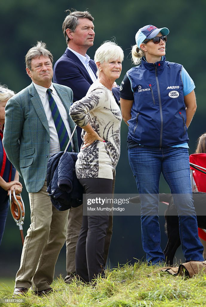 <a gi-track='captionPersonalityLinkClicked' href=/galleries/search?phrase=Alan+Titchmarsh&family=editorial&specificpeople=178200 ng-click='$event.stopPropagation()'>Alan Titchmarsh</a>, <a gi-track='captionPersonalityLinkClicked' href=/galleries/search?phrase=Timothy+Laurence&family=editorial&specificpeople=160940 ng-click='$event.stopPropagation()'>Timothy Laurence</a>, Alison Titchmarsh and <a gi-track='captionPersonalityLinkClicked' href=/galleries/search?phrase=Zara+Phillips&family=editorial&specificpeople=161323 ng-click='$event.stopPropagation()'>Zara Phillips</a> watch Zara's horse 'Silver Lining V' being ridden in the cross country phase of the Gatcombe Horse Trials at Gatcombe Park, Minchinhampton on September 22, 2013 in Stroud, England.