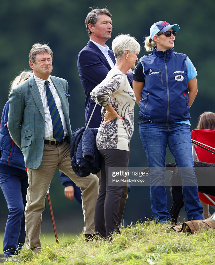 Alan Titchmarsh, Timothy Laurence, Alison Titchmarsh and Zara Phillips watch Zara's horse 'Silver Lining V' being ridden in the cross country phase of the Gatcombe Horse Trials at Gatcombe Park, Minchinhampton on September 22, 2013 in Stroud, England.